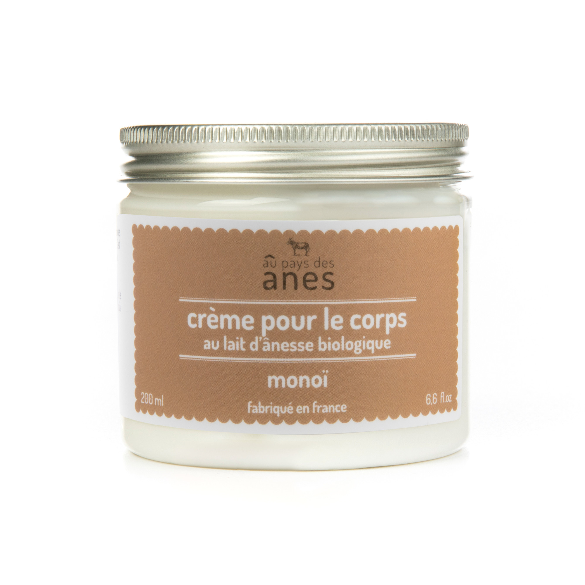 Crème corps au lait d'ânesse biologique Monoï 200 ml