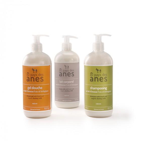 Pack soin du corps : gel douche, shampooing, lait corporel 500 ml