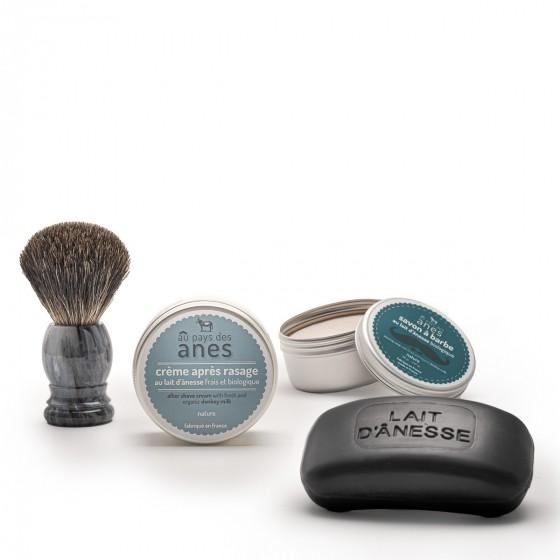 Pack homme : crème après-rasage pot, savon homme, savon à barbe et blaireau